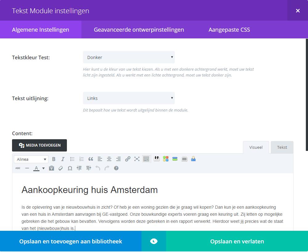 Tekst module scherm